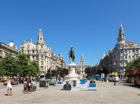 iv: Liberdade Square with King Peter IV monument in Porto, Portugal Editorial