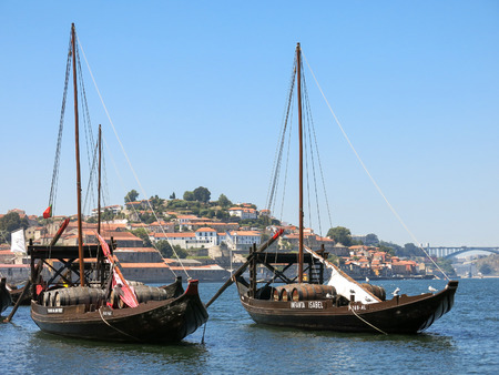 rabelo: Rabelo boats used for transport Port wine from Douro Valley to Porto, Portugal Editorial