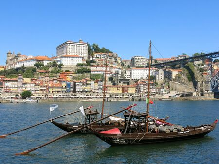 rabelo: Traditional Rabelo boats on Douro River and Ribeira District, Porto, Portugal