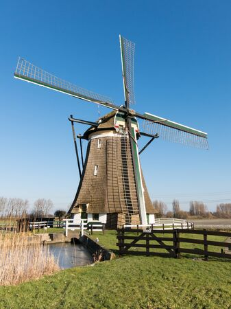 polder: Windmill in polder near Zevenhuizen in the province of South Holland, Netherlands Stock Photo