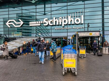 schiphol: People outside Schiphol Amsterdam Airport in the Netherlands