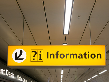 Information sign in arrivals terminal of Schiphol Amsterdam Airport, Netherlands