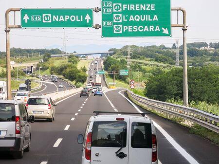highway traffic: Traffic on Italian Autostrada highway, motorway near Rome in Lazio, Italy