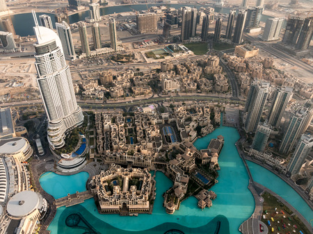 residences: Aerial view from Burj Khalifa of the Address Downtown Dubai skyscraper, Old Town Island, Fountain and the Residences in downtown Dubai, United Arab Emirates Editorial