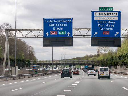 Traffic and route information panels on motorway A27 in Utrecht, Netherlands 報道画像