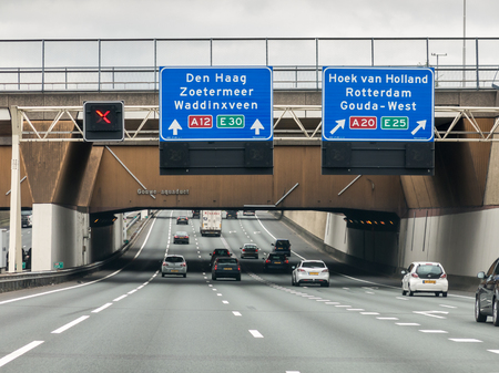Gouwe aqueduct on motorway A12 - route information to The Hague and Rotterdam in the Netherlands 報道画像