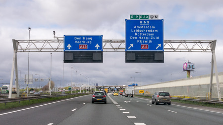 Traffic and route information panels on motorway A12 in The Hague, Netherlands Redakční