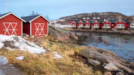 rorbuer: Rorbu cabins and sheds in Stokmarknes on Hadsel Island, Vesteralen, Norway