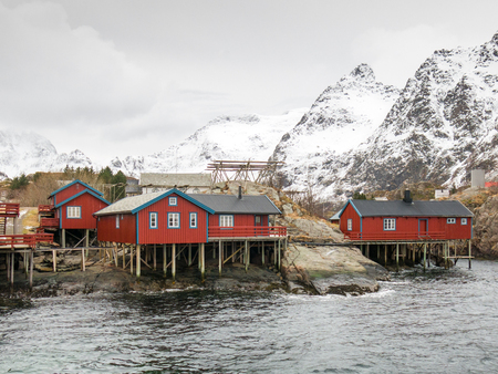 rorbuer: Rorbuer, red fishermans cabins, in  town called A on Lofoten Islands, northern Norway