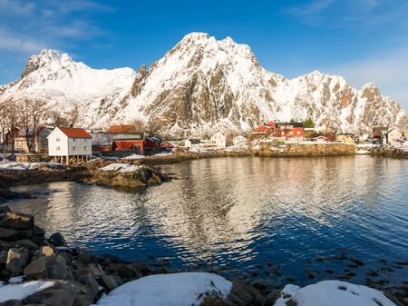 rorbuer: Rorbu cabins and houses in Svolvaer, Lofoten Islands, Norway