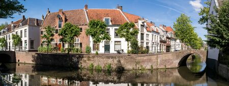 dutch canal house: Nieuweweg and Havik houses, bridges and canals in the city of Amersfoort, Netherlands Editorial