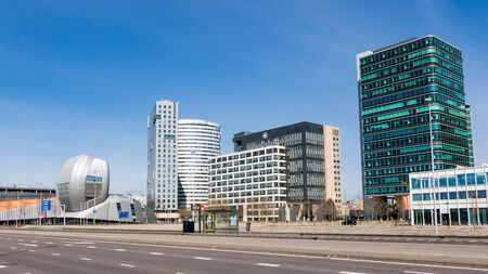 AMSTERDAM, NETHERLANDS: MARCH 22, 2015: Amsterdam business disctrict Zuid-oost with office buildings Living Tomorrow, Alpha Tower, Oval Tower and Entree II Tower, Netherlands