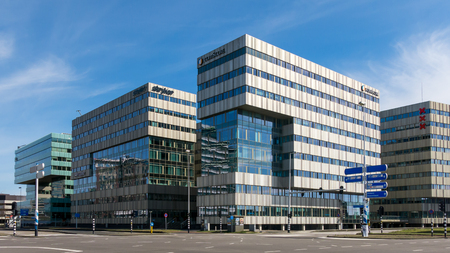office buildings: AMSTERDAM, NETHERLANDS: MARCH 22, 2015: Office buildings in  business district Amsterdam Zuid-oost, Netherlands Editorial