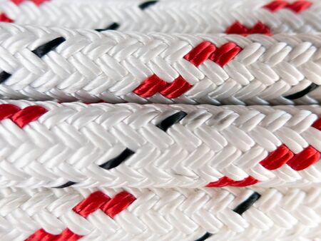 Close-up of braided polyester marine rope used on boats and yachts for rigging and mooring