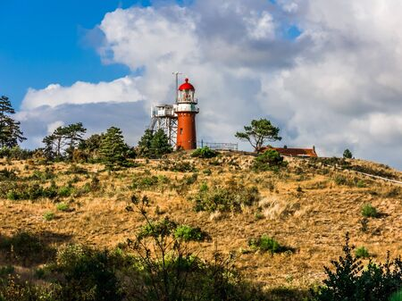 Vuurduin lighthouse  on Vuurboetsduin near East-Vlieland town on the West Frisian island Vlieland in Wadden Sea, Netherlands