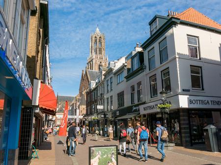 streetscene: UTRECHT, NETHERLANDS - MAY 21, 2015: People in shopping street Steenweg in the city center of Utrecht
