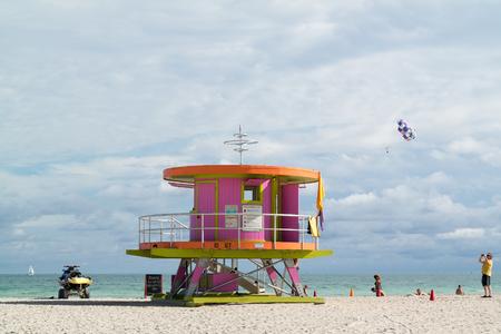 life guard: MIAMI, USA - DEC 9, 2015: Life guard station on South Beach of Miami Beach, Florida, USA