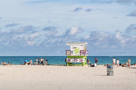 life guard: Life guard station on South Beach of Miami Beach, Florida, USA