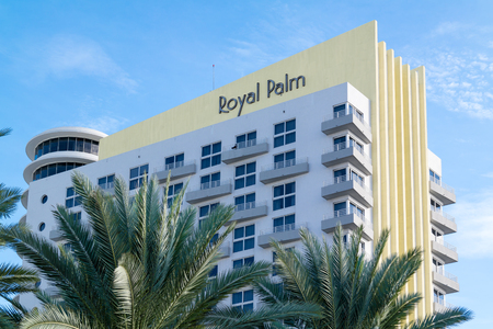 south beach: Top of Royal Palm Resort building on Collins Avenue in South Beach district of Miami Beach, Florida, USA