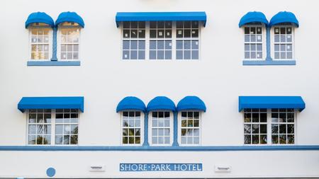 south beach: Front facade of art deco hotel Shore Park in South Beach district of Miami Beach, Florida, USA Editorial