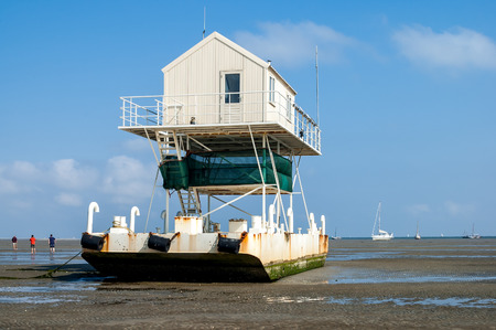 wadden: Birdwatch cabin on the tidal flats at low tide of the wetlands, Wadden Sea, Netherlands