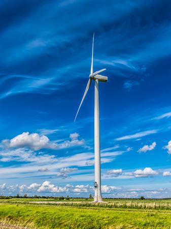 polder: Wind power turbine in Flevoland polder in the Netherlands
