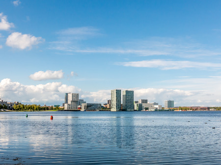 silverline: Waterfront skyline modern architecture in Almere-City from Weerwater in the province of Flevoland near Amsterdam, Netherlands Stock Photo