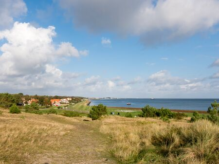 wadden: Panoramic view of the island Vlieland and the Wadden Sea in the Netherlands Stock Photo