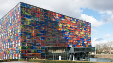 HILVERSUM, NETHERLANDS - APRIL 4, 2015: Sound and Vision Institute, the Dutch Media Museum on Media Park in Hilversum, the Netherlands