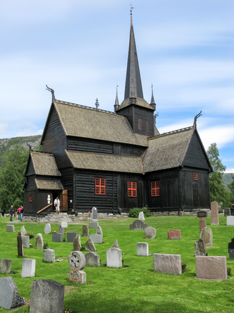 stave: Lom Stave Church in the city centre of Lom in the Gudbrandsdal district in Oppland county, Norway