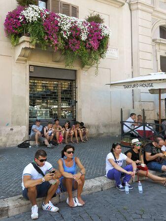 navona: Tourists on Piazza Navona Square, Rome, Italy