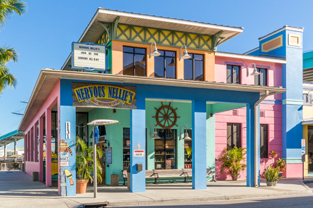 FORT MYERS, USA - DEC 11, 2015: Restaurant in Old San Carlos Boulevard in Fort Myers Beach on Estero Island at the west coast of Florida, USA Editöryel