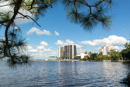 myers: FORT MYERS, USA - DEC 11, 2015: Panorama of Caloosahatchee River with waterfront apartment buildings in Fort Myers, Florida, USA