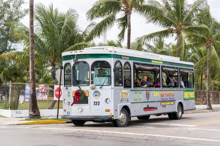 sightseeing tour: Hop on hop off city sightseeing tour trolley on White Street, Key West, Florida Keys, USA