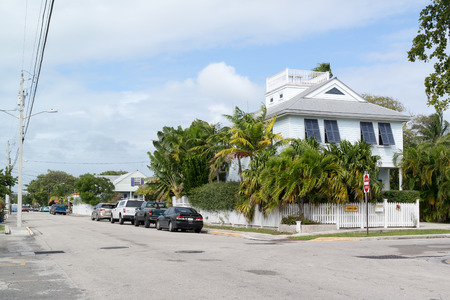 key west: Parked cars and houses in Emma street in Key West, Florida Keys, USA Editorial