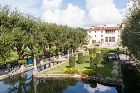 Villa Vizcaya north facade from museum gardens in Coconut Grove in Miami, Florida, USA Editöryel