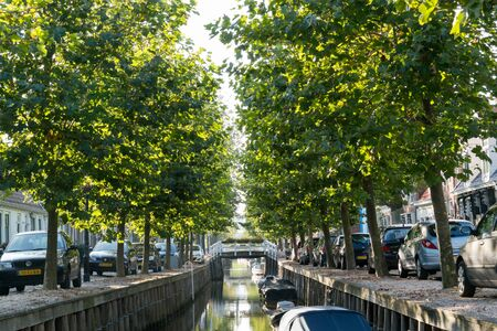 friesland: Canal Zoutsloot in historic old town of Harlingen, Friesland, Netherlands Editorial