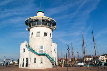 control tower: Control tower of harbour office in historic old town of Harlingen, Friesland, Netherlands