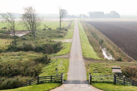 hazy: Small road in hazy Frisian polder landscape in countryside near Harlingen, Friesland, Netherlands