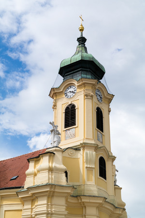 habsburg: Tower of baroque Parish church in Laxenburg near Vienna, Lower Austria