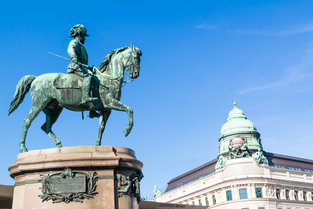 archduke: Equestrian statue of Archduke Albrecht in front of Albertina Museum and top of Generali building in downtown Vienna, Austria