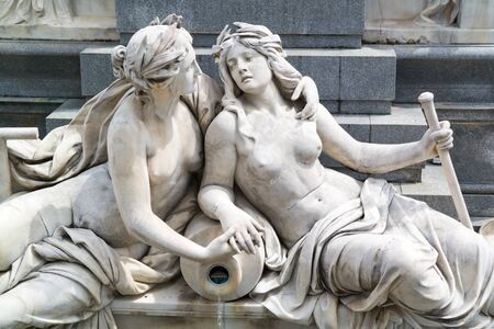 pallas: Detail of Pallas Athene Fountain in front of Austrian parliament building on Ringstrasse in Vienna, Austria