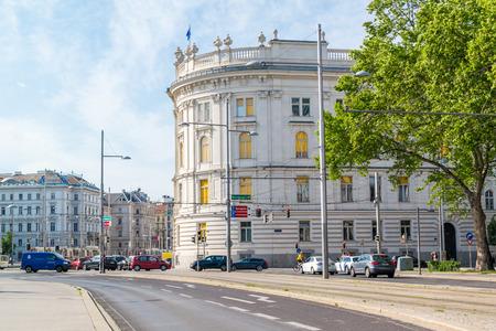 Street scene of Am Heumarkt and Schwartzenbergplatz with traffic and buildings in Vienna, Austria