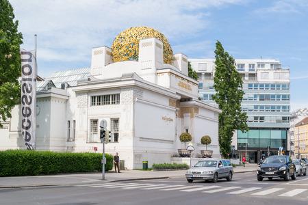 streetscene: Art nouveau Secession building and traffic in Friedrichstrasse in Vienna, Austria