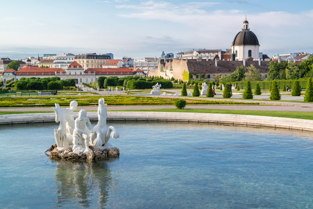 salesian: Pool with baroque sculpture in Belvedere gardens and Lower Belvedere Palace in Vienna, Austria