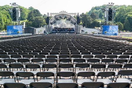 rehearsal: Vienna Philharmonic Orchestra rehearsal for Summer Night Concert in Schonbrunn Palace Gardens in Vienna, Austria