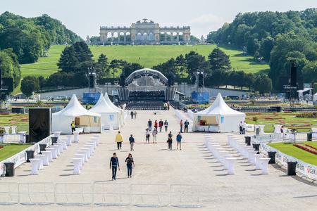 a rehearsal: Vienna Philharmonic Orchestra rehearsal for Summer Night Concert in Schonbrunn Palace Gardens in Vienna, Austria