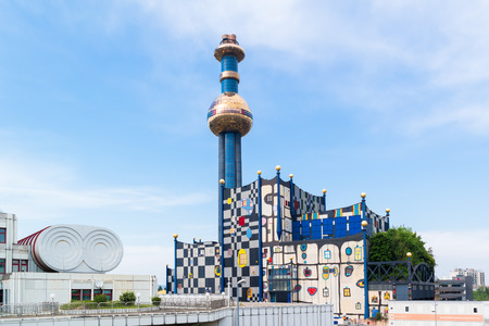 Spittelau waste incineration and district heating plant by Hundertwasser, Vienna, Austria