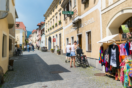 streetscene: People shopping in Main Street of old town Durnstein in Wachau valley, Lower Austria Editorial