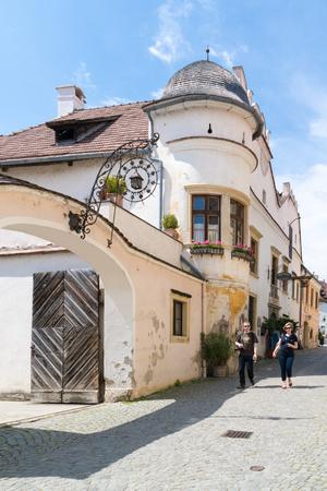 streetscene: People walking in Main Street of old town Durnstein in Wachau valley, Lower Austria